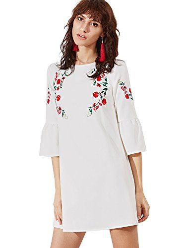 8115a2fee8a5 Floerns Women's Bell Sleeve Embroidered Tunic Dress at Amazon Women's  Clothing store: