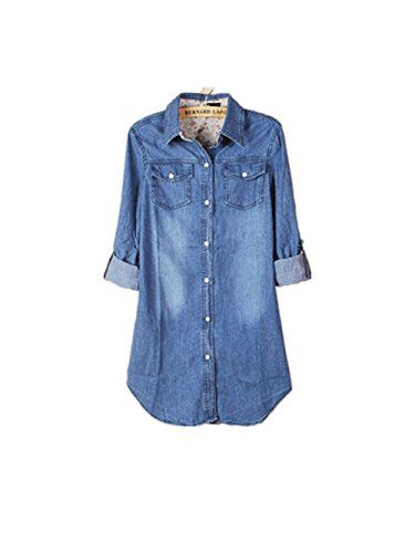 19a4021477 YABEIQIN Women Lady Girl Retro Vintage Long Sleeve Jean Denim Shirt Top Blouse  Blue S Dark Blue     Check out this great product.