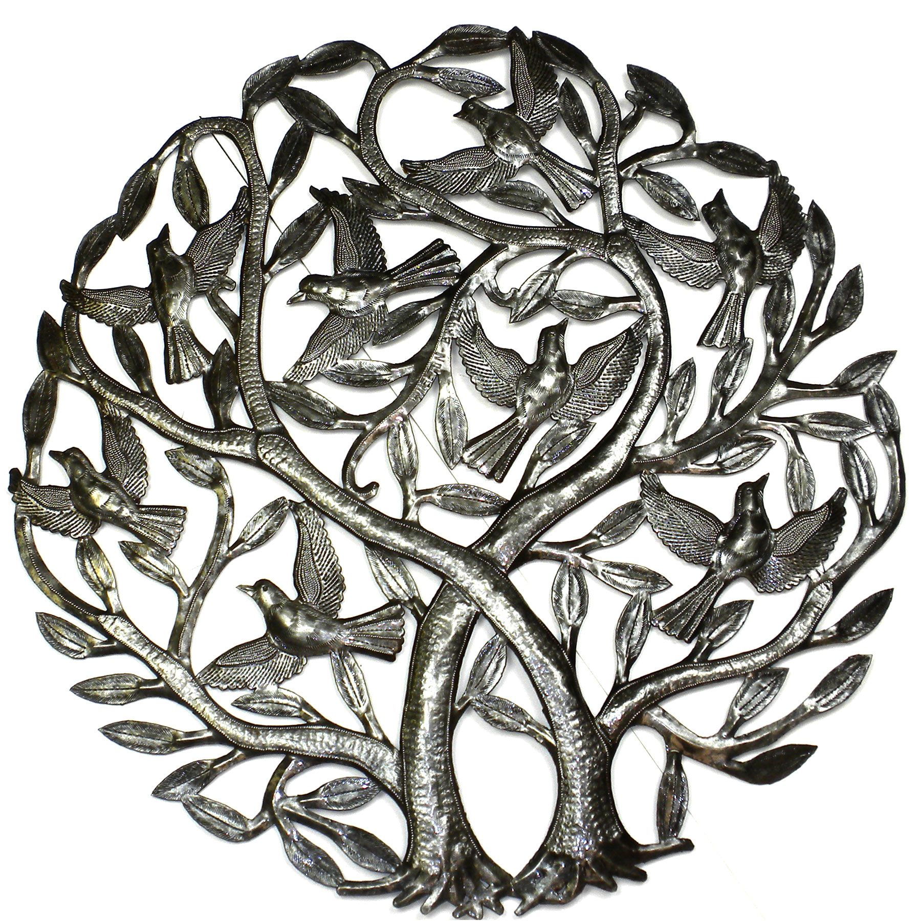 Croix des bouquets double tree of life metal wall art inch