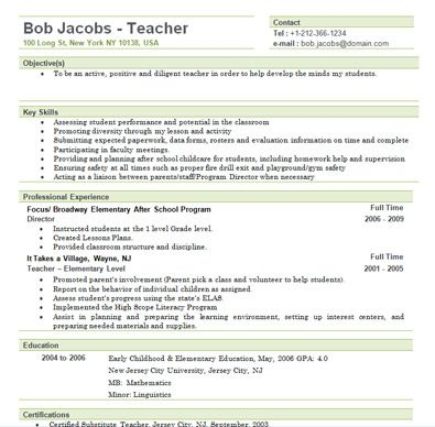 Teaching Resumes For New Teachers  Free Elementary Teacher Resume