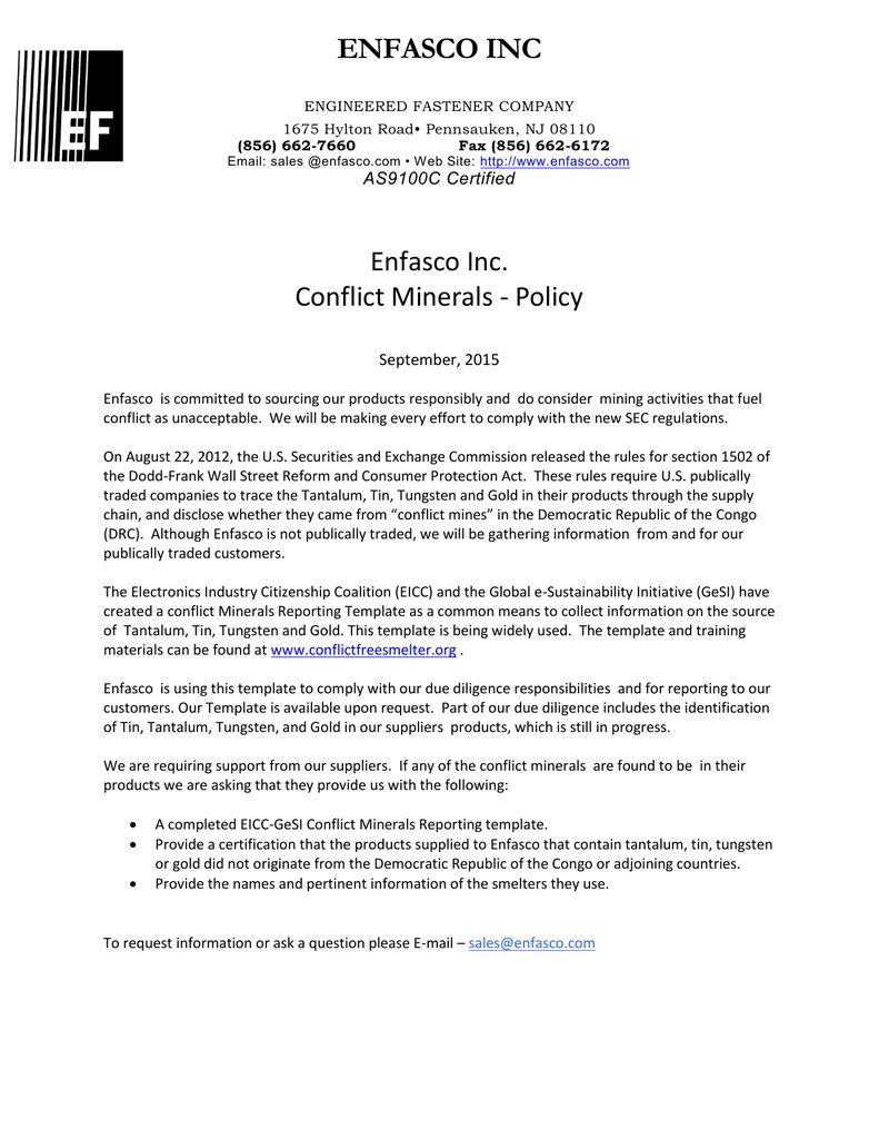 The Outstanding Enfasco Inc Enfasco Inc Conflict Minerals Policy For Eicc Conflict Minerals Reporting Te Professional Templates Business Template Conflicted