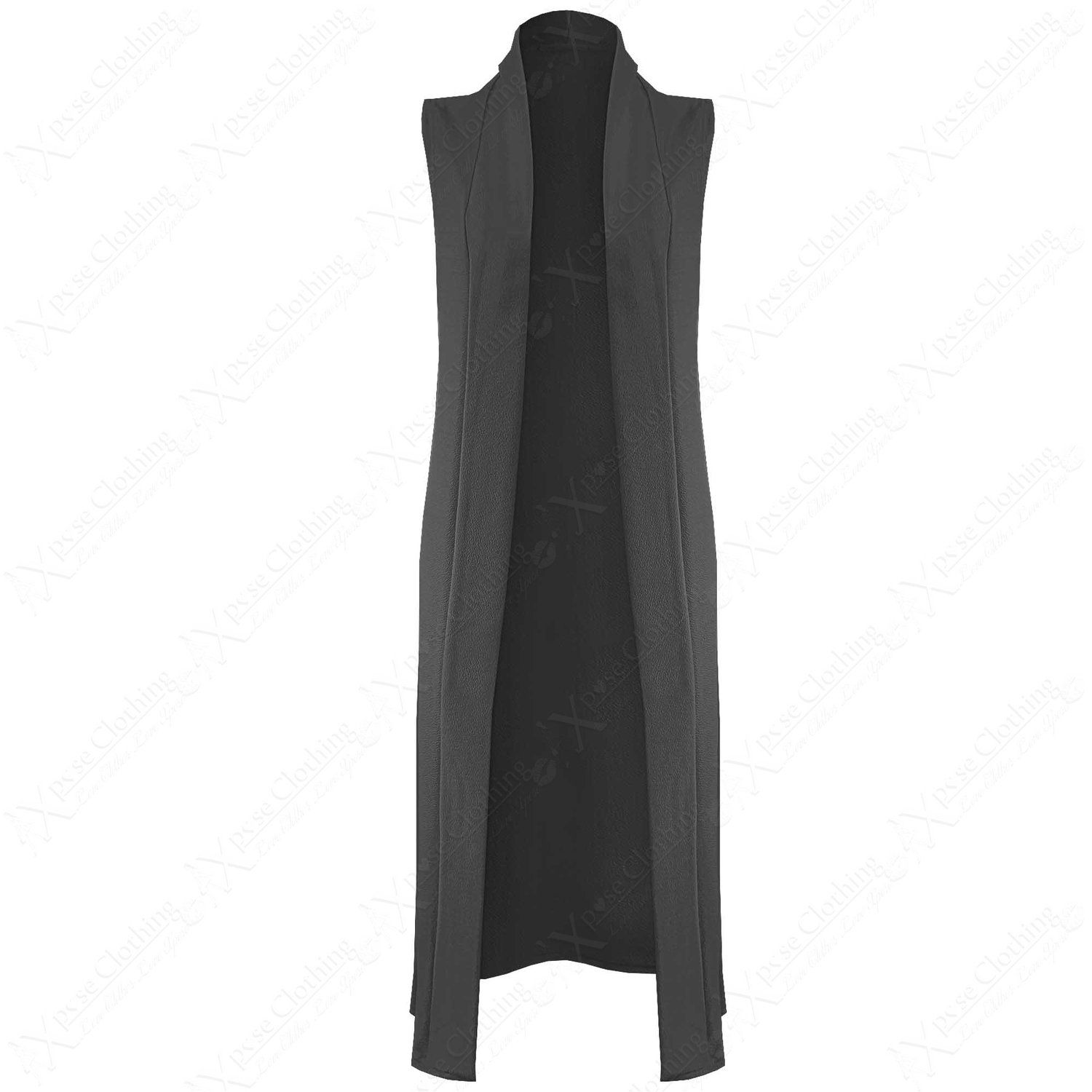 New Womens Long Crepe Fabric Duster Ladies Waistcoat Front Open
