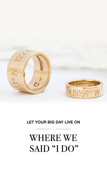 Wedding bands customized with the couple's ceremony location coordinates. REEDS.com