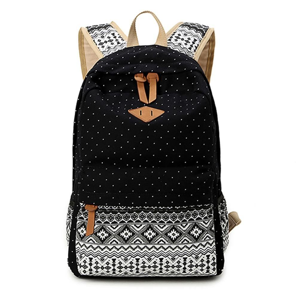 Gintan Exotic Style Canvas Polka-Dot Print Casual Daypack College ...