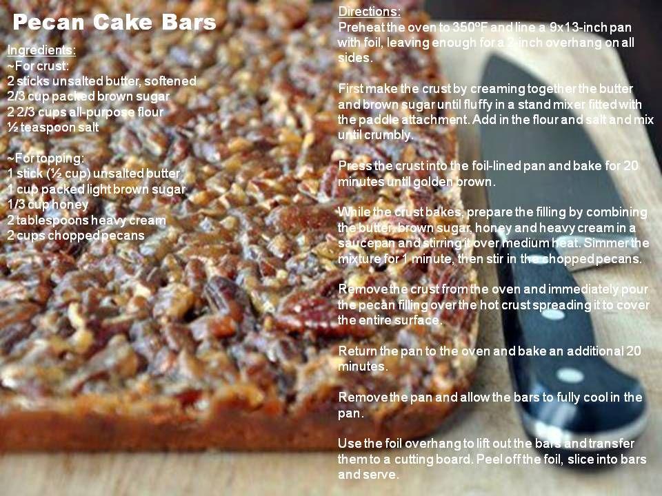 Pecan Cake Bars