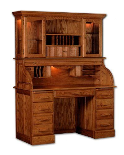Solid Wood Roll Top Desk With Hutch By Haugen Furniture 2997 00 Lifetime Warranty Desks Double Pedestal