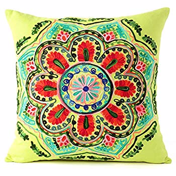 Amazon Com Eyes Of India 16 Brown Embroidered Colorful Decorative Sofa Cushion Couch Pillow Throw Cov In 2020 Embroidered Throw Pillows Green Couch Pillows Pillows