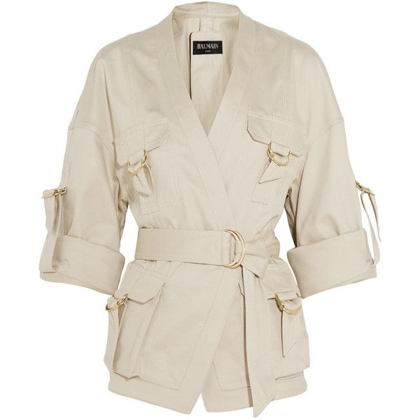Balmain Belted cotton-blend gabardine jacket (€1.640) ❤ liked on Polyvore featuring outerwear, jackets, balmain, tops, neutrals, gabardine jacket, white jacket, safari jacket and balmain jacket