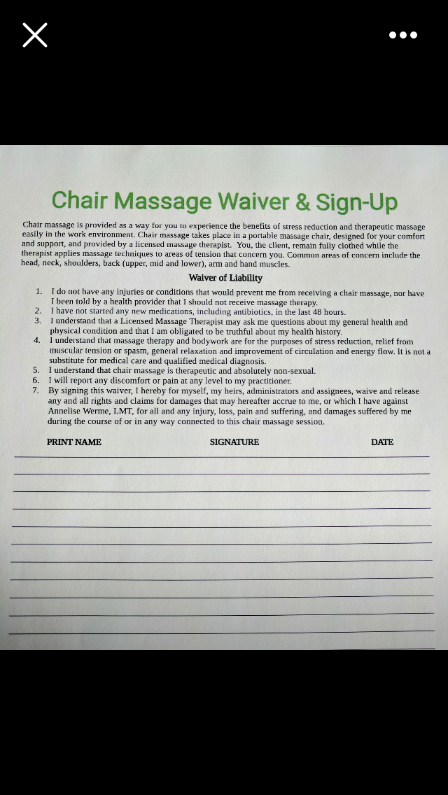 Chair Massage Waiver Intake Form Massage Therapist Medical