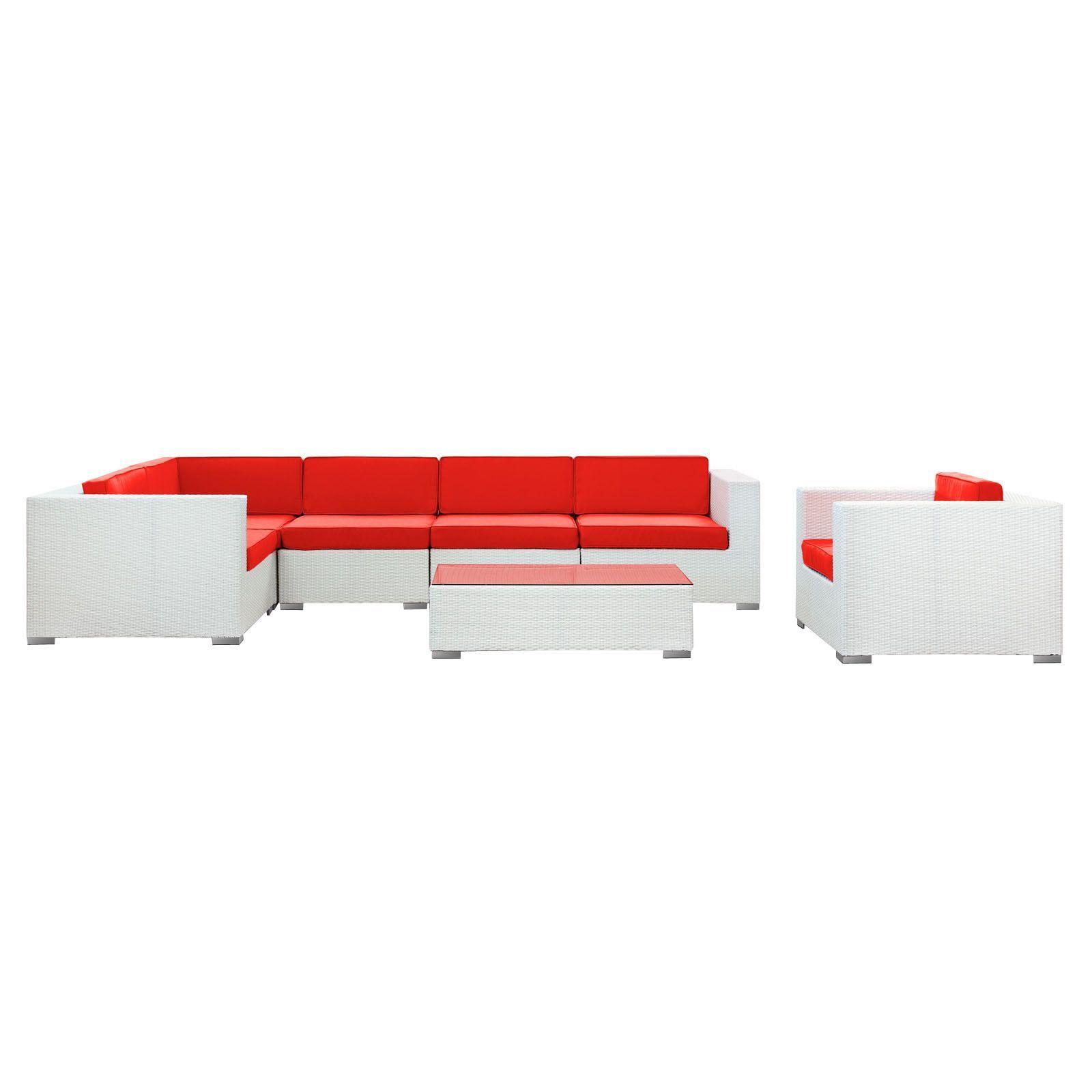 Modway Furniture Corona 7 Piece Outdoor Patio Sectional Set