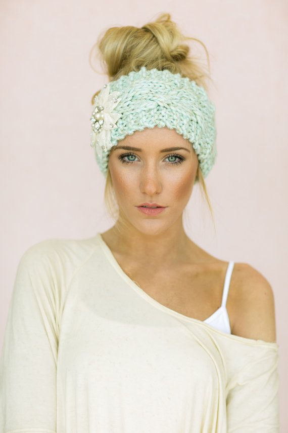 Mint Cable Knitted Headband, Jeweled Ear Warmer, Embellished Flower ...
