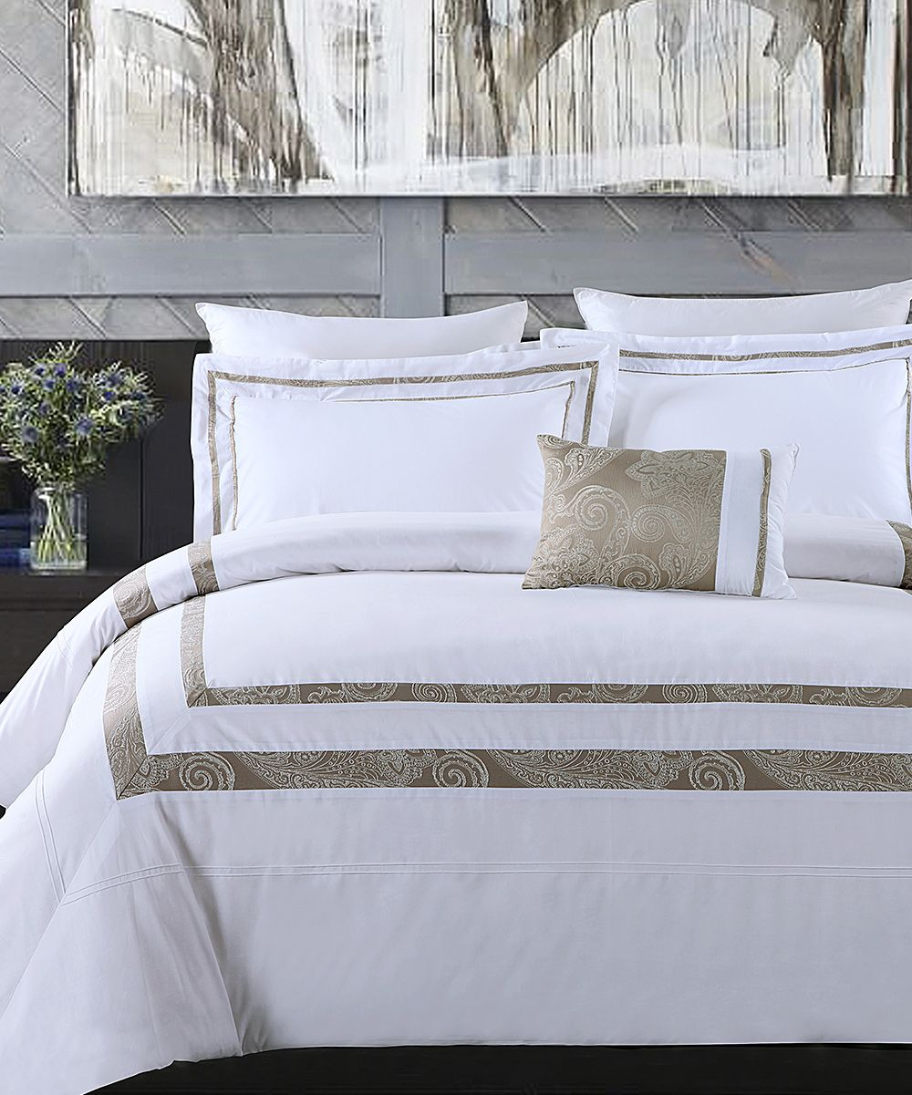White & Taupe Hotel Park Luxe Comforter Set