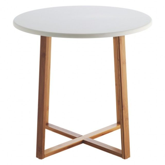 Elegant DREW Bamboo And White Lacquer Large Side Table
