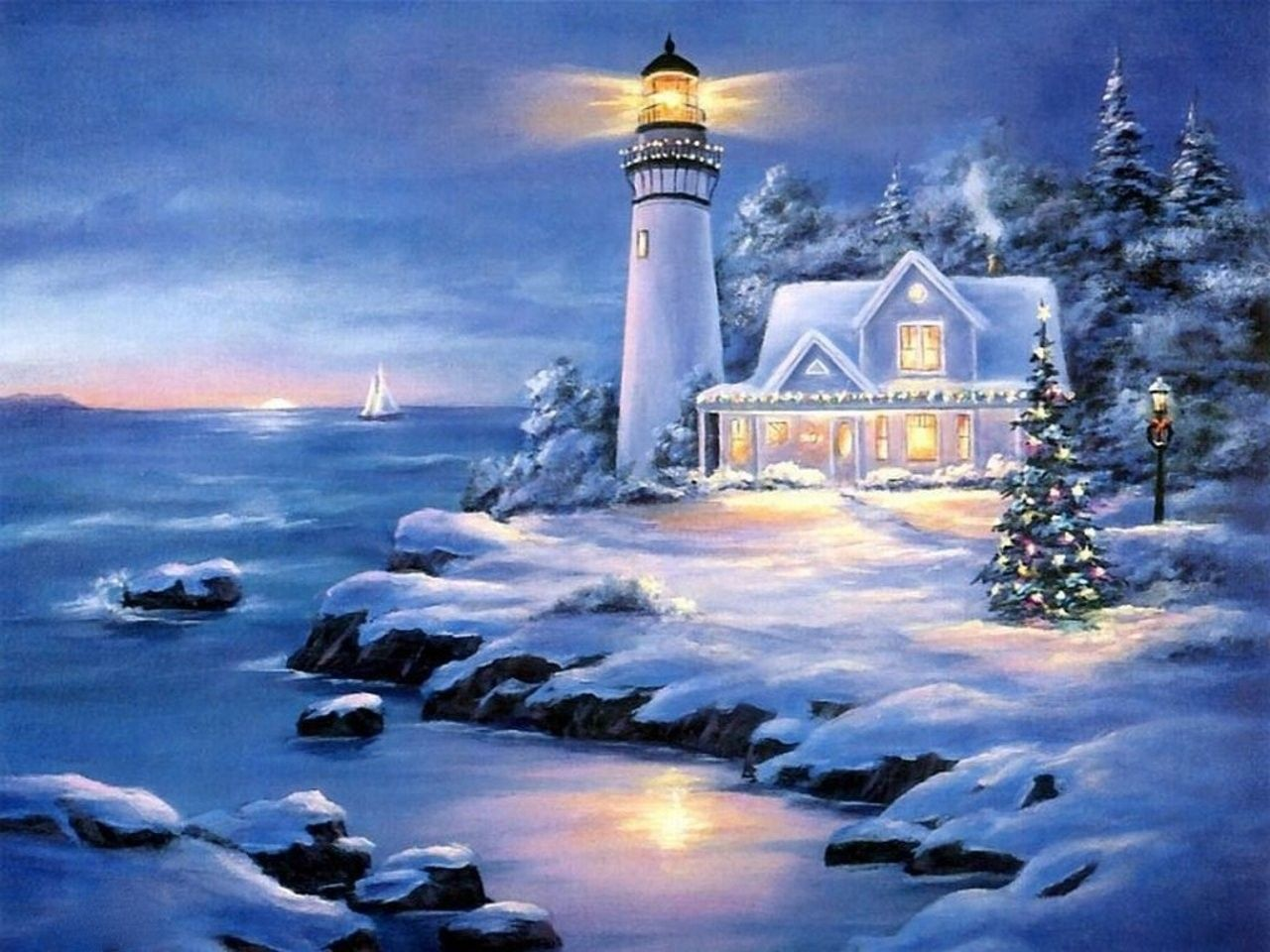 pictures lighthouses in winter , CHRISTMAS, HOUSE