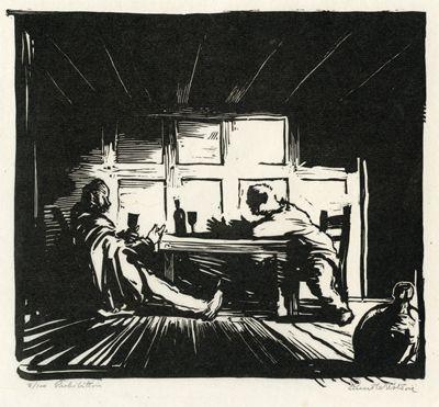 Prohibition. Ernest W Watson Artwork Linoleum block print