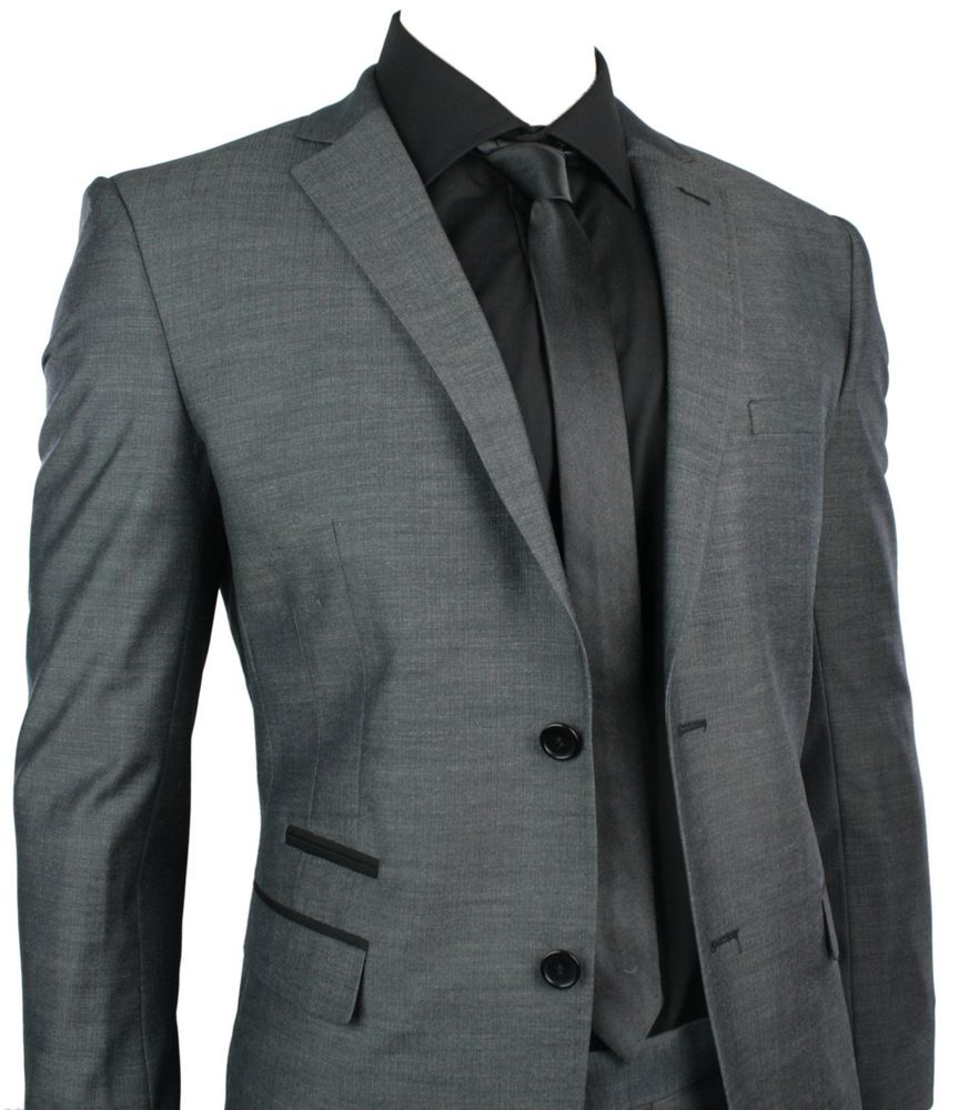 Mens Fitted Suit Charcoal Grey Black Trim Blazer & Trouser Smart ...