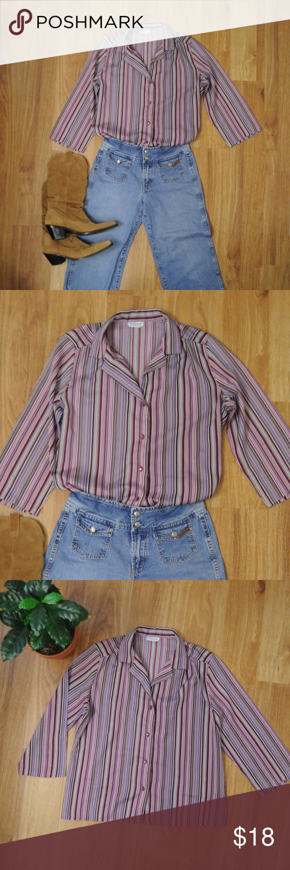 9b4ce2d50ca Vintage Levi Strauss Striped Button Up Blouse A few small snags near the  button placket. But otherwise in great condition. 🌱 Levi Strauss   Co 🌷  Wine ...