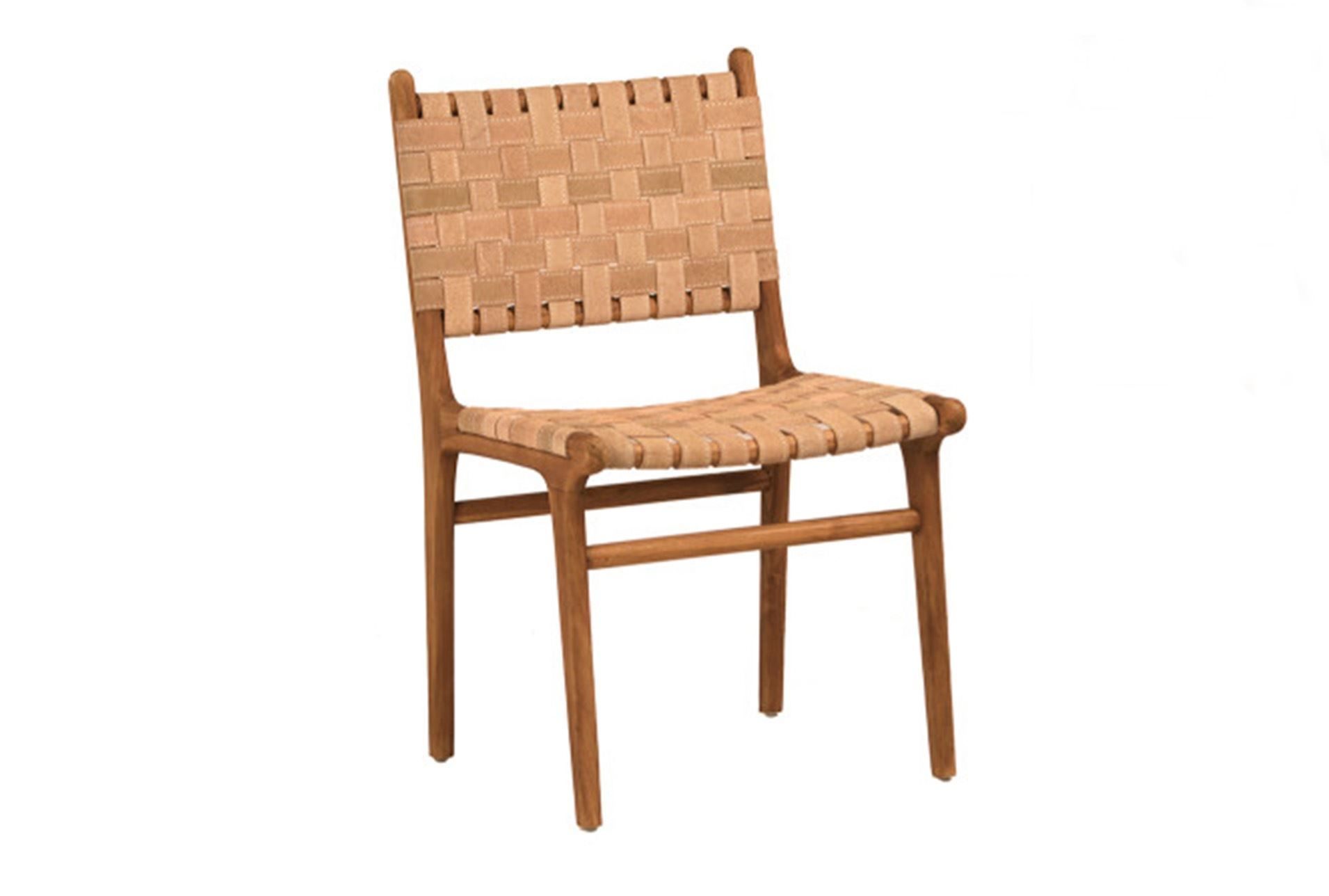 otb natural brown teak wood leather dining chair natural brown rh pinterest com