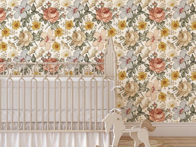 Vintage Floral Wallpaper Peel And Stick Wallpaper Removable Etsy Vintage Floral Wallpapers Floral Nursery Floral Wallpaper