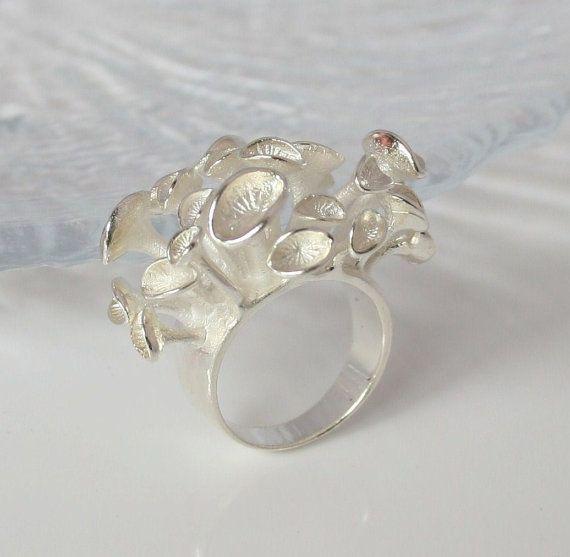 Eco Conscious Design Sea Anemone Ring by SilverSandJewelry 13000