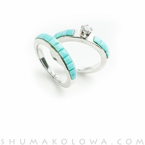Unique Wedding Ring Set Handcrafted By Native American Artists With Channel Inlay Design Of Blue Turquoise And Sterling Silver