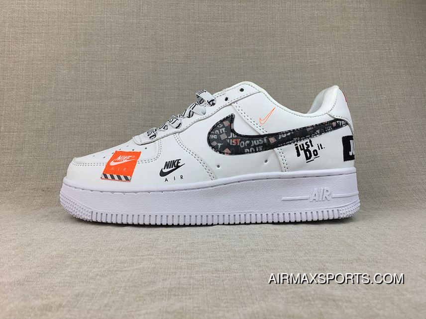 Nike Air Force 1 07 Premium Just Do It White Black Total Orange Ar7719 100 Nike Air Force Ones Nike Air Nike Air Force