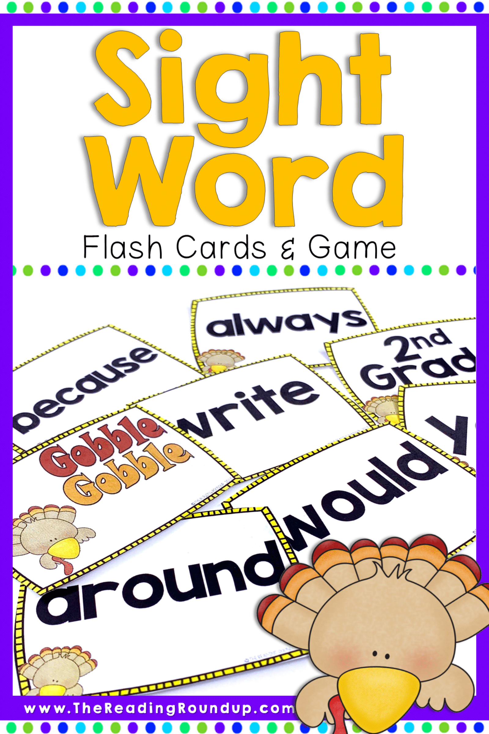 Thanksgiving Sight Words Flash Cards & Game November