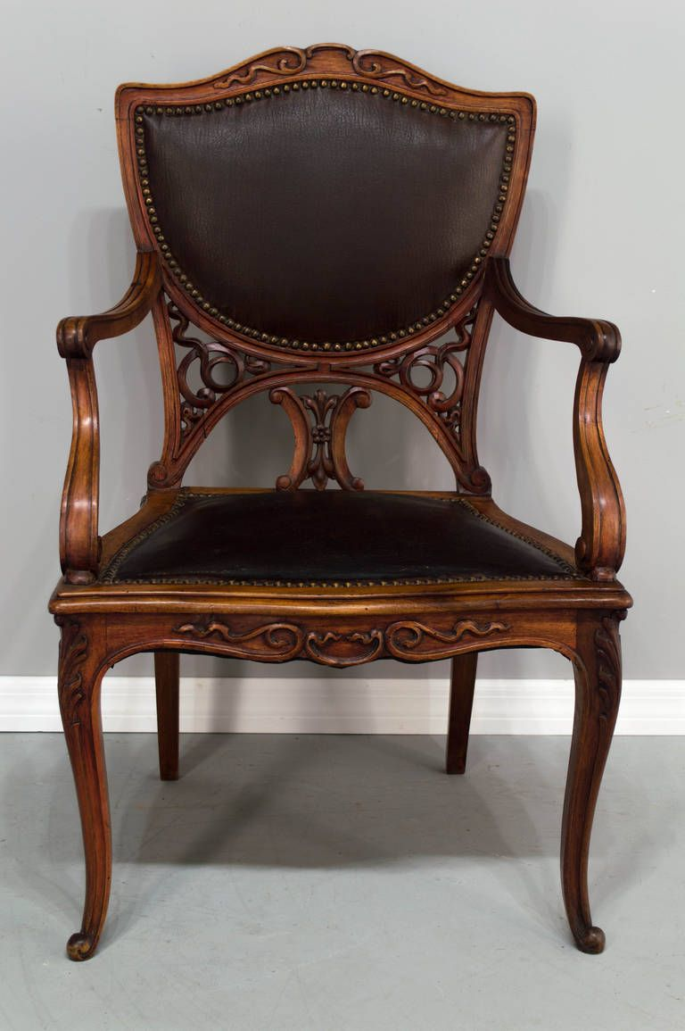 Pair of Art Deco Fauteuils or Armchairs is part of Chair - View this item and discover similar armchairs for sale at 1stdibs  A pair walnut frame fauteuils with a leather seat and back and brass tacks  The backs have been replaced  A nice comfortable pair of armchairs  The width