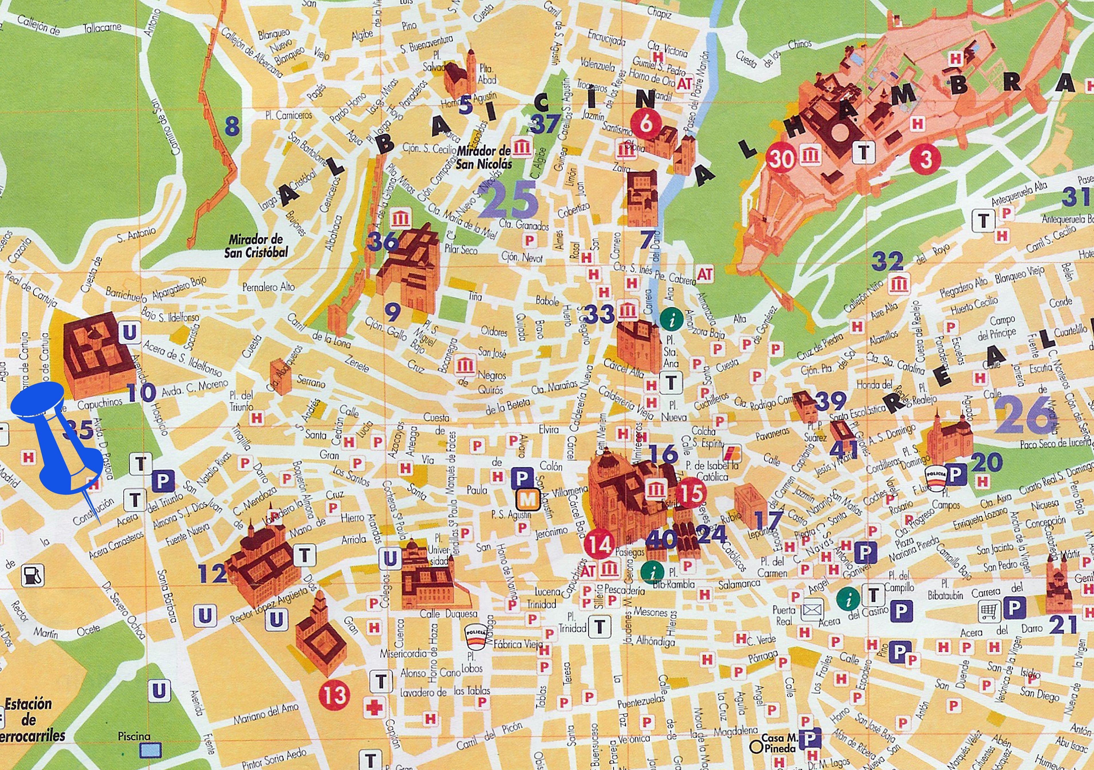 Mapa turstico de Granada GRANADA 2017 Pinterest Granada and