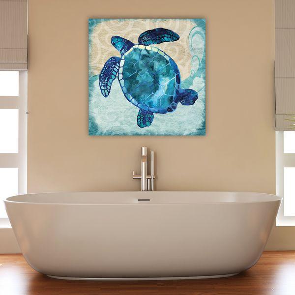 Jill Meyer 'Blues Sea Turtle' Canvas Ready to Hang Wall Art
