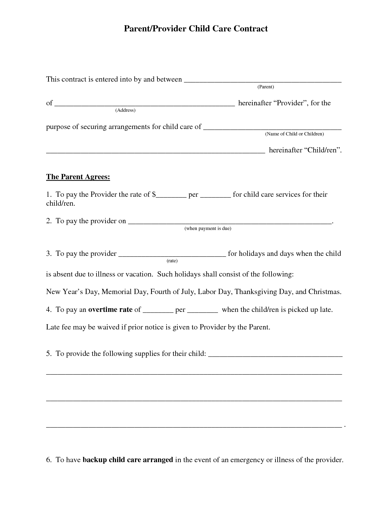 Free Daycare Contract Forms