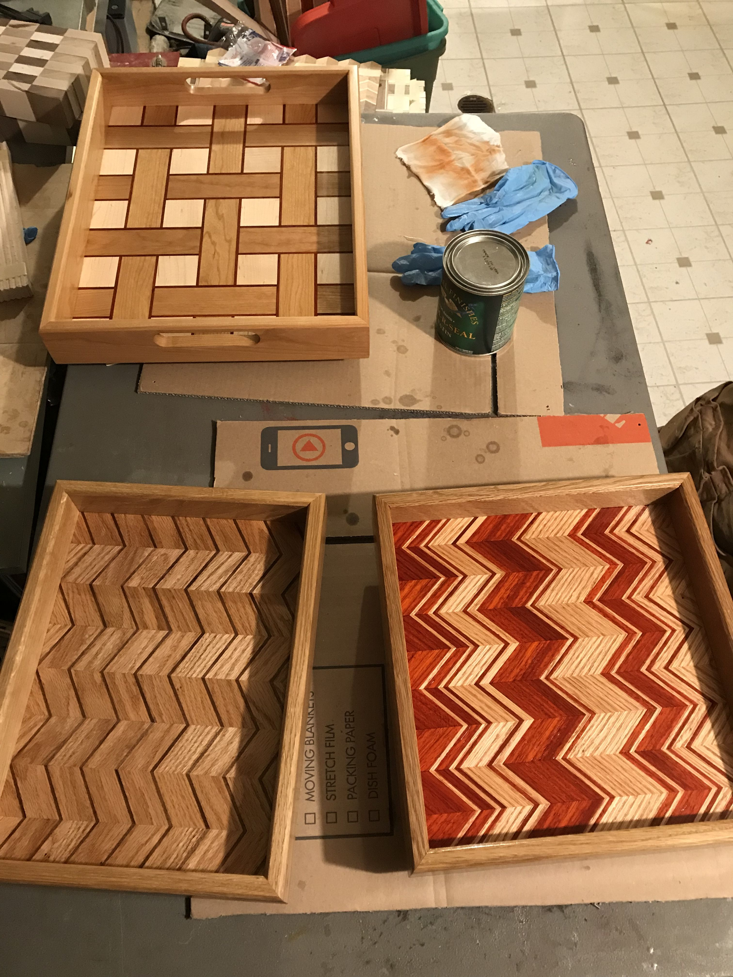 Finishing some wood trays with general finishes armrseal