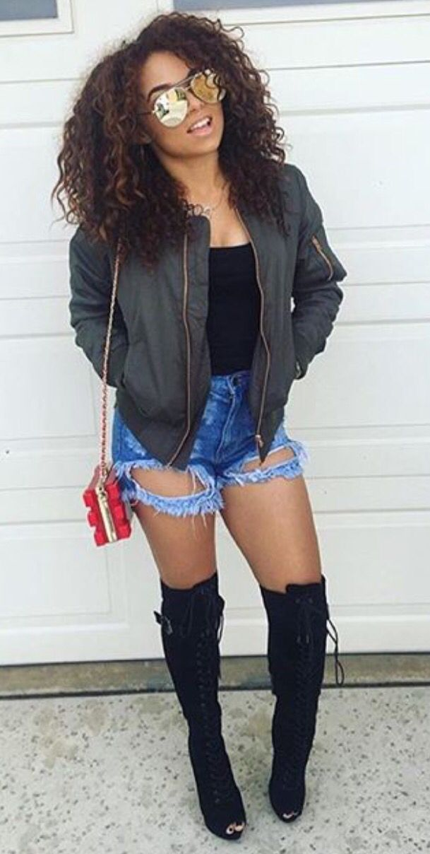 Fall & winter outfit - All black with flannel & thigh high boots ...
