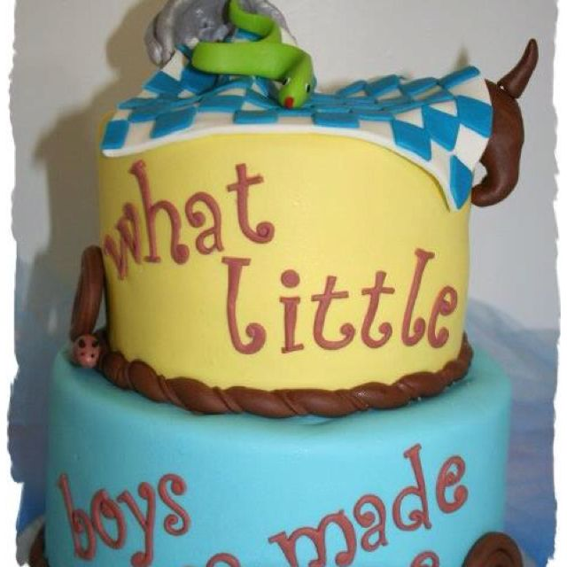 A cute baby boy shower birthday cake Because I like cakes