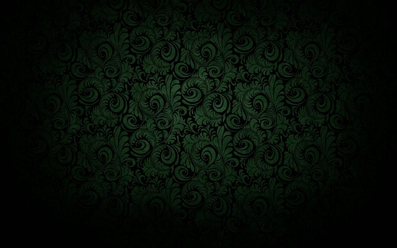"""Dark Black Curved Bloom Green Wallpaper"" 