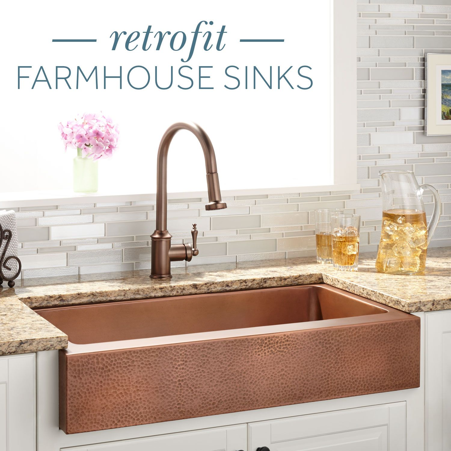 Love the farmhouse sink style, but can\'t switch out your cabinets to ...
