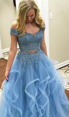 blue long prom dress, two piece prom dress, 2018 prom dress, off the shoulder prom dress, graduation dress, formal evening dress