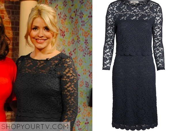 0e53a3bd370ba This Morning: Holly Willoughby's Navy Blue Lace Dress | TV Show ...