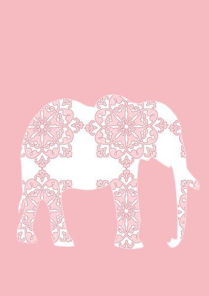 Animals Illustration Pink Damask Elephant Art Print By Ialbert Society6 Elephant Print Art Elephant Iphone Wallpaper Elephant Wallpaper