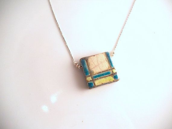 Necklace square of green and white raku necklace di LaTerraCanta NEW NEW NEW!!!