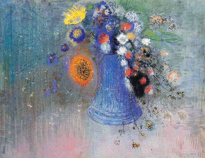 Redon: Vase of flowers. pastel