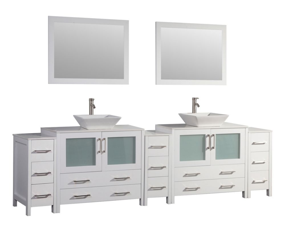Ravenna 108 Inch Bathroom Vanity In White With Double Basin Vanity