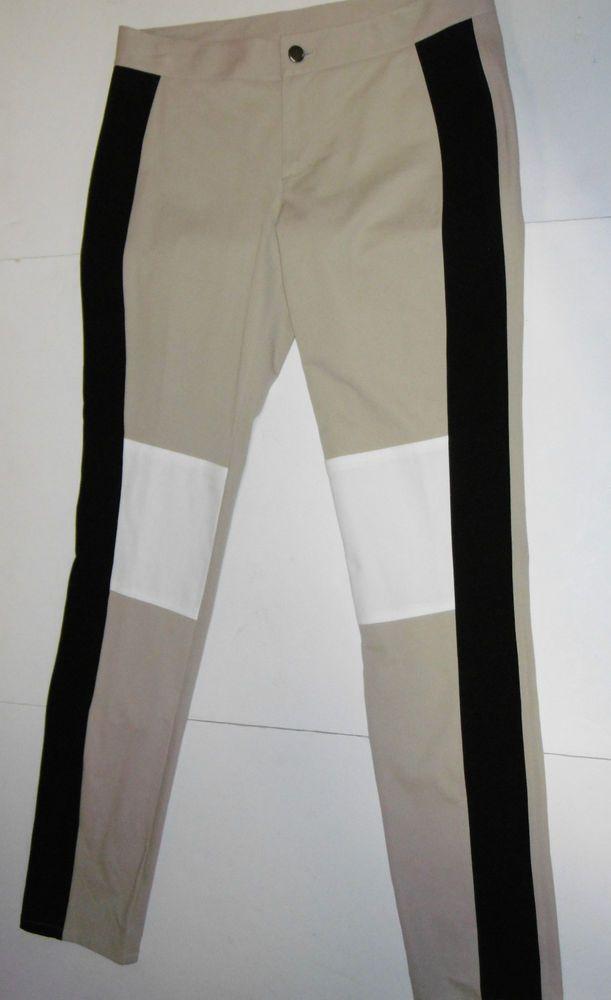 DKNY BEIGE/BLACK/WHITE CONTRAST FLAT FRONT STRETCH WOMEN'S SZ 8 ZIP REAR POCKETS #DKNY #CasualPantsCASUALPANTS