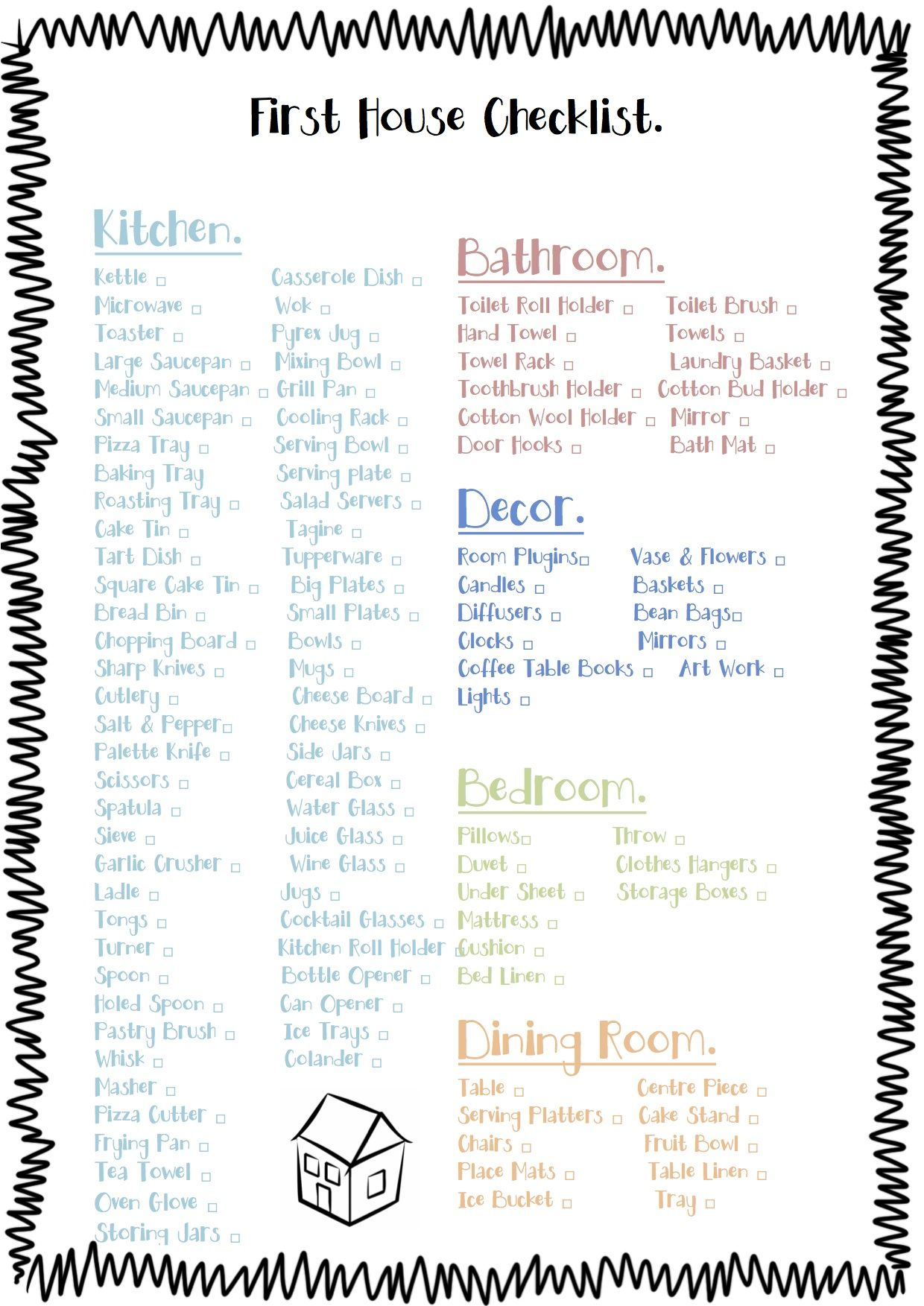 Free Printable Check List For The Essentials To Buy For A First House  (minus The