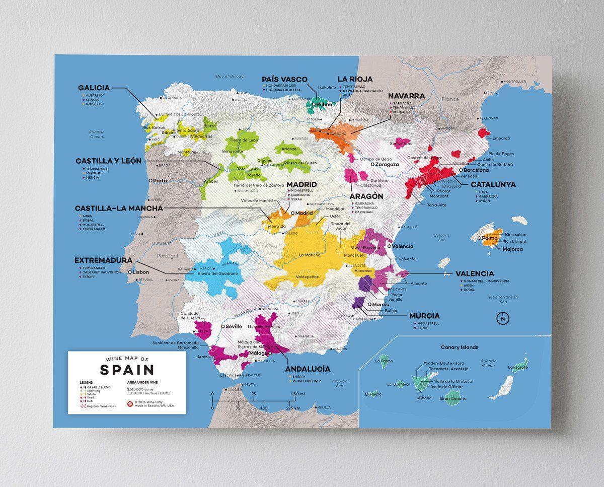 Spain Wine Map Weinkarte Wein Und Weinkeller