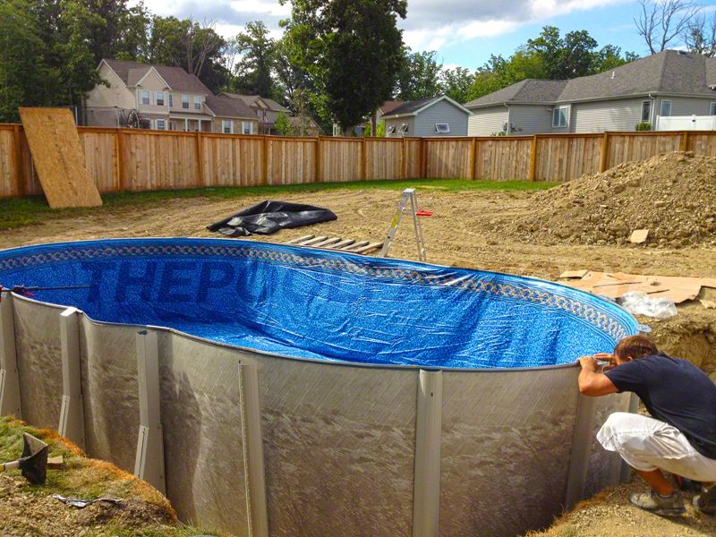 Pool Installation Almost Complete After Installing The Top Plates