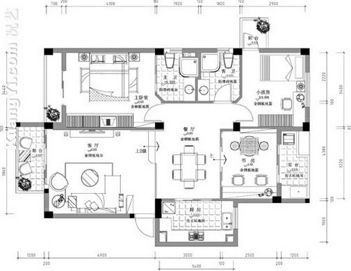 single bedroom flat drawing plan