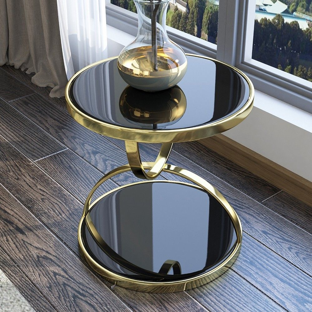 Black Round Side Table Tempered Glass With Storage End Table In Gold Table Decor Living Room Home Decor Furniture Round Side Table Black [ 1000 x 1000 Pixel ]