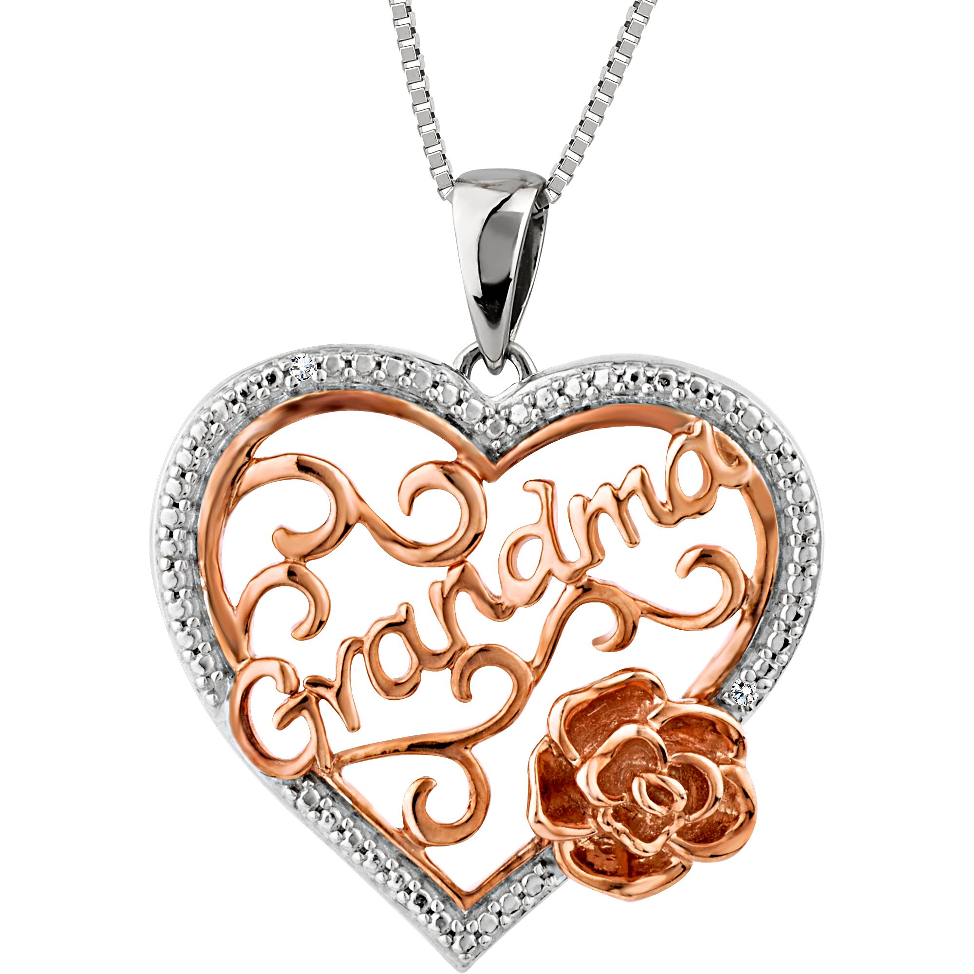 Tell Grandma Just How Much She Means To You With This Beautiful Diamond Accent Pendant Heart Pendant Jewelry Heart Pendant Diamond Silver Diamonds