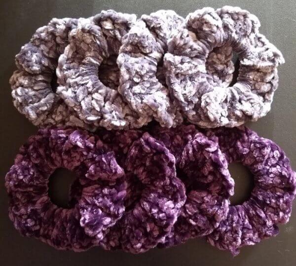 Crochet Velvet Scrunchies #crochetscrunchies